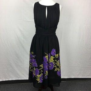 Adrianna Papell Black Floral Print Pleat Dress